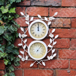 Vintage White Flower Clock & Thermometer Decorative Garden Accessory By Kingfisher